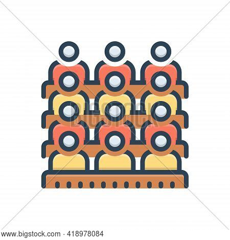 Color Illustration Icon For Audience Viewer Spectator Bystander Looker Televiewer