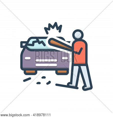 Color Illustration Icon For Auto-destruction Auto Destruction Annihilation Ruin Annihilation Devasta