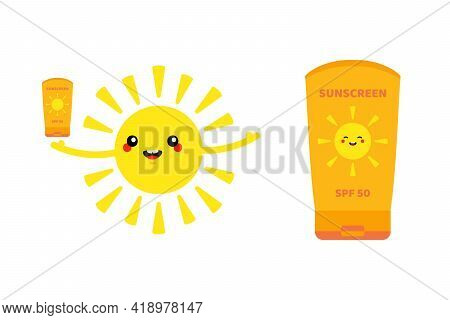 Sun Character Holding Sunscreen In Hand And Bottle, Tube Of Sunscreen. Sun Protection During Summer