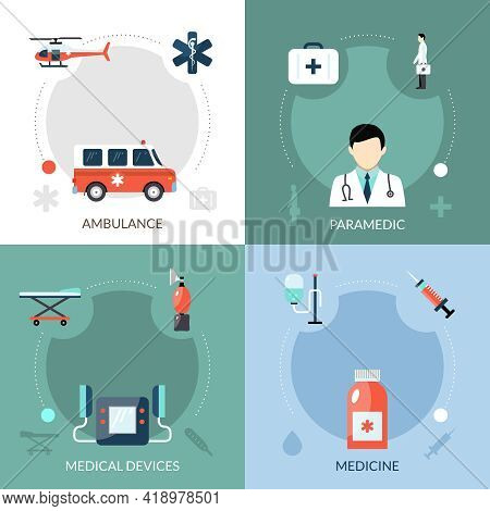 Emergency Paramedic Icons Set With Ambulance Medical Devices And Medicine Symbols Flat Isolated Vect