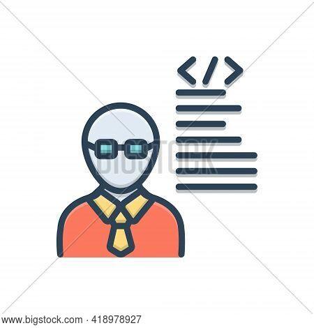 Color Illustration Icon For Developer  Programmer Man Adult Coder Software-engineer
