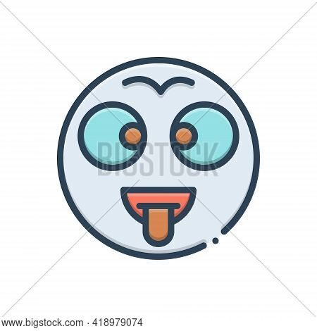 Color Illustration Icon For Batty Dippy Demented Mad Loopy Moonstruck Crazed
