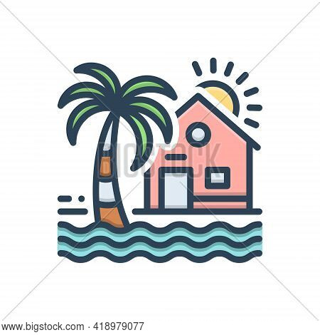 Color Illustration Icon For Beach-house Beach House Maldives Resort Ocean Tree Coastal
