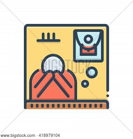 Color Illustration Icon For Bereaved  Funeral Exequies Bereavement Separation Dissociation Dissevera