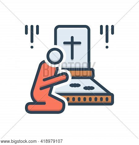 Color Illustration Icon For Bereaved Graveyard Funeral Cemetery Churchyard Necropolis Mausoleum