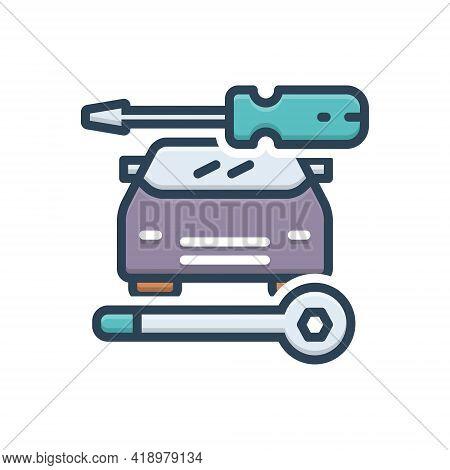 Color Illustration Icon For Auto-repair Auto Repair Workshop Service Technology Vehicle Car Workshop