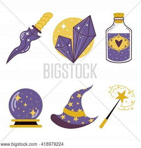 Vector Set Of Magic Objects. Elements Of Witchcraft: Blade, Hat, Orb Of Divination, Crystal, Elixir,