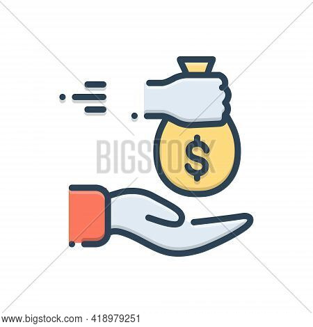 Color Illustration Icon For Borrowed Loan Indebtedness Lending Currency