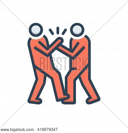 Color Illustration Icon For Bullying Abuse Fight Harassment Oppression Persecution Tyranny Impish