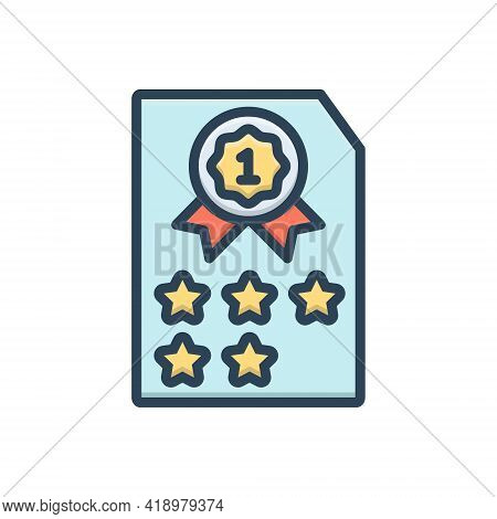 Color Illustration Icon For Rank Class Category Grade  Satisfaction Result Quality Achievement