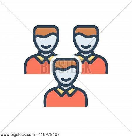 Color Illustration Icon For Clients Customer People Group Subscriber Clientele Purchaser Underwriter