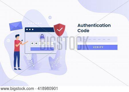 2-step Verification Illustration Flat Design. Illustration For Websites, Landing Pages, Mobile Appli