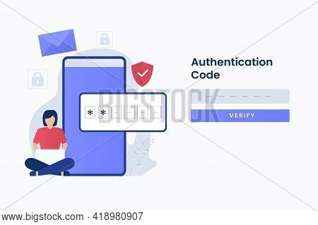 2-step Authentication Illustration Web Page. Illustration For Websites, Landing Pages, Mobile Applic