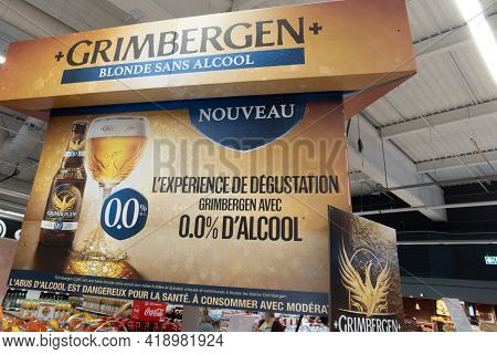 Bordeaux , Aquitaine France - 04 22 2021 : Grimbergen Belgian Abbey Beers Sign Text And Logo Brand O