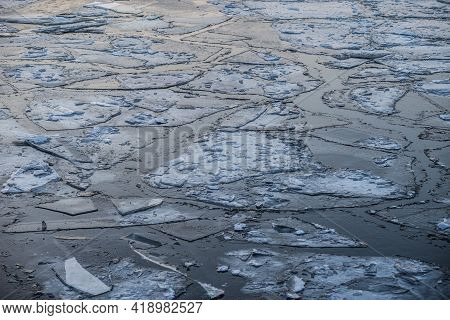 Icy Moscow River.cracked Ice On The River. Chunks Of Ice On The River