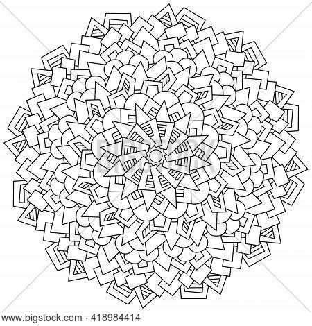 Abstract Mandala Of Various Geometric Shapes, Circle-shaped Coloring Page With Various Patterns Vect