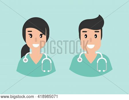 Smiling Doctor With Stethoscope. User Avatar Set Isolated On Blue. Medical Internet Consultation. He