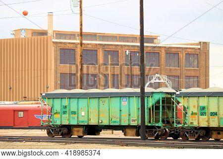 April 26, 2021 In Cheyenne, Wy:  Vintage Rail Cars At The Union Pacific Railroad Yard In Cheyenne, W