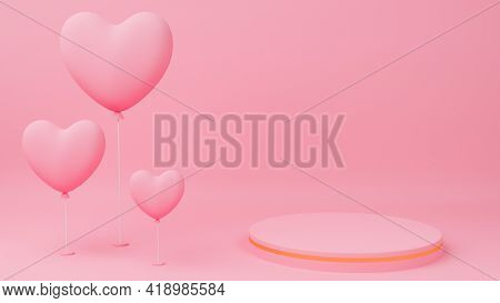 Valentine's Day Concept. Circle Podium Pink Pastel Color With Gold Edge, Pink Heart Balloon. 3D Rend