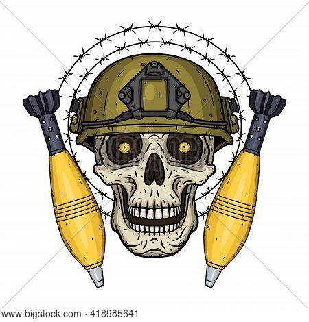 Soldier Skull. Skull In Helmet With Mortar Shells And Barbed Wire.