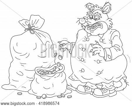 Spiteful And Greedy Of Gain Fat Old Rat Tax Collector With A Shabby Tail And Big Bags Of Coins For R