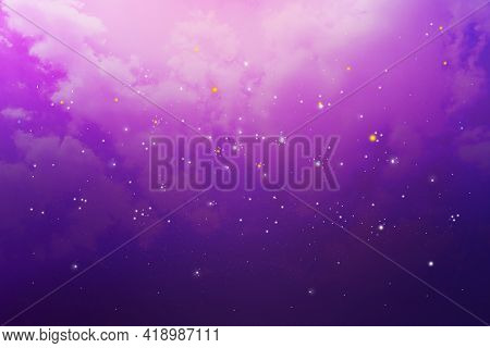 Clouds And Stars In The Night Sky, Nebula And Galaxies Presented In Nature Background Abstract Style