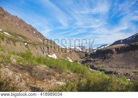 Taimyr. Waterfalls On The Putorana Plateau. Russia, Siberia