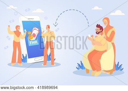 Uncle And Aunt Transferring Money Or Eid Mubarak Bonuses To Nephewsthrough Online Banking Applicatio