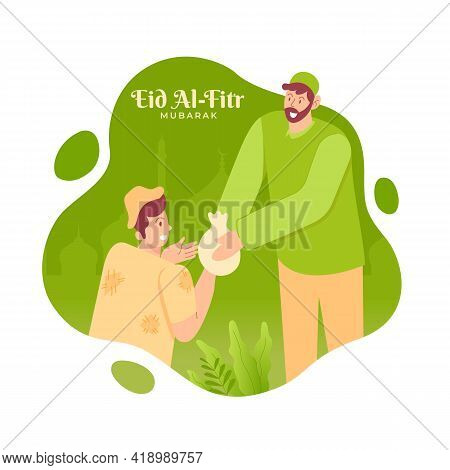 Happy Eid Al Fitr Greeting Card. Illustration Of Muslim Give Alms Or Paying Zakat Before Eid Mubarak
