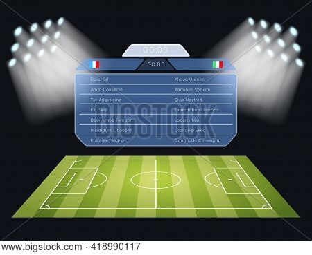 Floodlighting Soccer Field Scoreboard. Spotlight And Lighting, Sport Football Game, Stadium And Cham