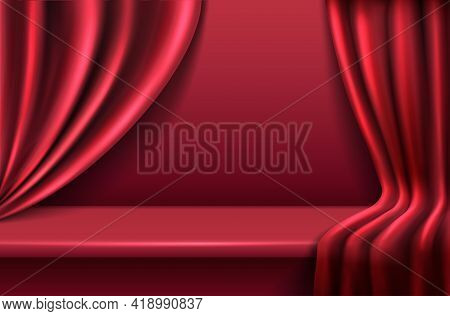 3d Realistic Vector Red Velvet Background With Wavy Drapery Curtains.