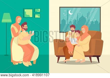 Happy Eid Mubarak Greeting Card, Muslim Couple Blessing Eid Mubarak Through Smart Phone Screens Usin