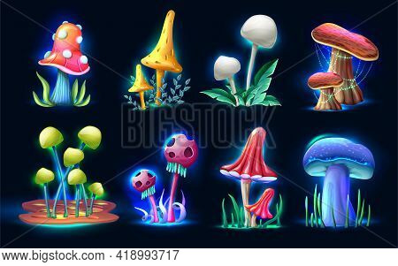 Collection Of Vector Cartoon Style Magic Fantasy Mushrooms Glowing In The Dark, Isolated On White Ba