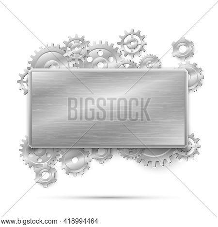 Mechanical Steampunk Concept. Banner Metal Gears. Mechanism Design Machine Steel, Mechanical Industr