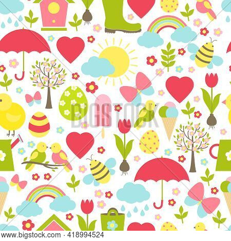 Pretty Delicate Seamless Spring Pattern In A Busy Design With Iconic Springtime Favourites Depicting