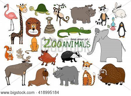 Set Of Hand-drawn Zoo Animals On White With A Flamingo  Lion  Rhino  Elephant  Raccoon  Bison  Squir