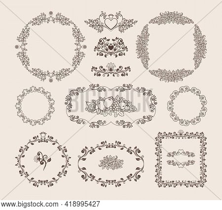 Set Of Ornamental Vector Circular  Oval And Square Frames And Badges With Intricate Scrolling Callig