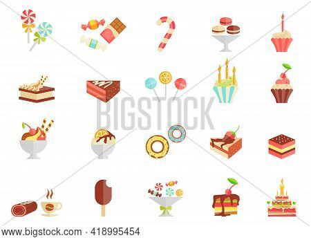 Cake Candy And Ice Cream Icons With Assorted Slices And Wedges Of Cake  Cupcakes  Ice Lolly  Ice Cre
