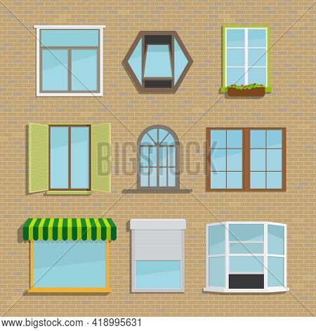 Set Of Icons Of Different Types Of Windows. Construction Frame, House And Architecture, Vector Illus