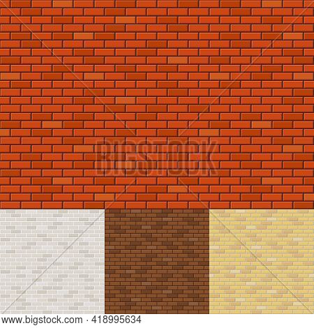 Set Of Brick Wall Backgrounds. Texture Surface, Block Rough, Brickwork And Stone. Vector Illustratio