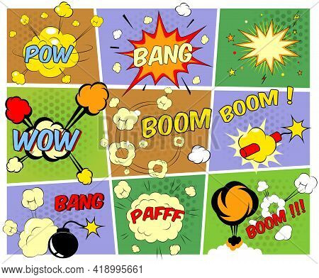 Bright Colorful Mock-ups Of Comic Book Speech Bubbles Depicting A Variety Of Sounds  Explosions  Ban