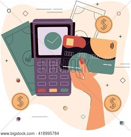 Female Hand With Debit Or Credit Card In Front Of Electronic Terminal. Concept Of Secure Online Paym