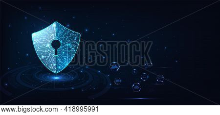 Cyber Attack Protection Privacy Concept. Security Shield Icon Digital Display Over On Dark Blue Back