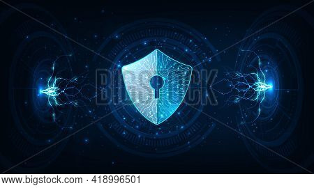 Protection From Virus Attack.security Shield Icon Digital Display Over On Dark Blue Background.data