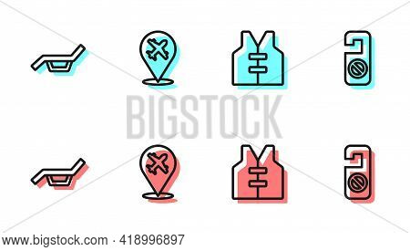 Set Line Life Jacket, Sunbed And Umbrella, Plane And Please Do Not Disturb Icon. Vector