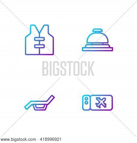 Set Line Airline Ticket, Sunbed And Umbrella, Life Jacket And Hotel Service Bell. Gradient Color Ico
