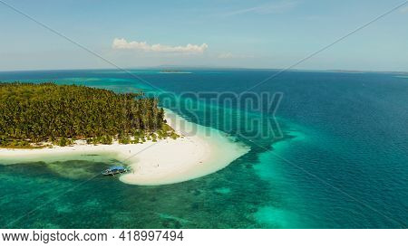 Sandy Beach And Tropical Island By Atoll With Coral Reef, Top View. Patongong Island With Sandy Beac