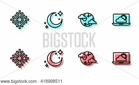 Set Line Earth Planet With Clouds, Snowflake, Moon And Stars And Weather Forecast Icon. Vector