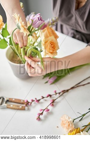 Step By Step Installation Of Flowers In A Vase. Flowers Bunch, Set For Home. Fresh Cut Flowers For D