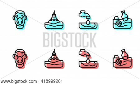 Set Line Water Problem, Face In Protective Mask, Floating Buoy On The Sea And Problem Pollution Of O